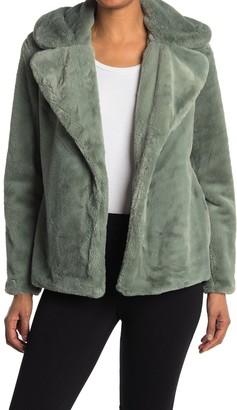 Kensie Notch Collar Faux Fur Coat