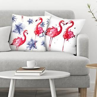 "East Urban Home Sam Nagel 2 Piece Beach Flamingos Throw Pillow Insert Set Size: 14"" x 14"""