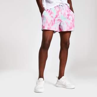 River Island Mens Pink tie dye slim fit shorts