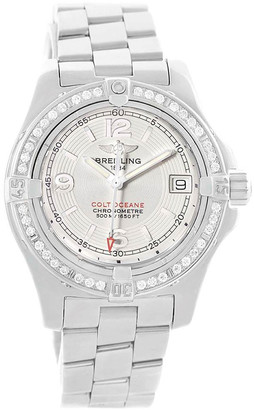 Breitling Silver Stainless Steel and Diamond Colt Oceane A77380 Women's Wristwatch 33.2MM