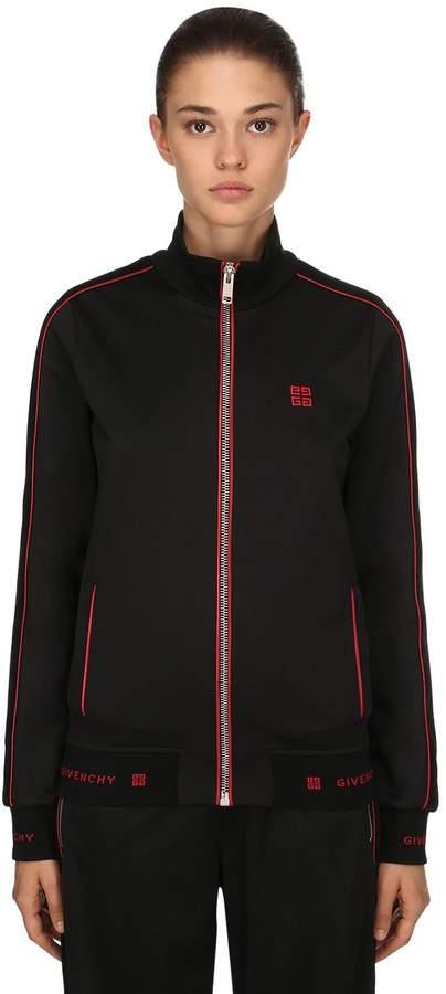 Givenchy Zip-Up Neoprene Jersey Sweatshirt