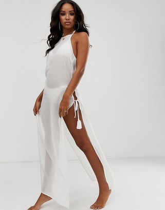 ASOS DESIGN premium white sequin embellished beach maxi dress with tassel ties