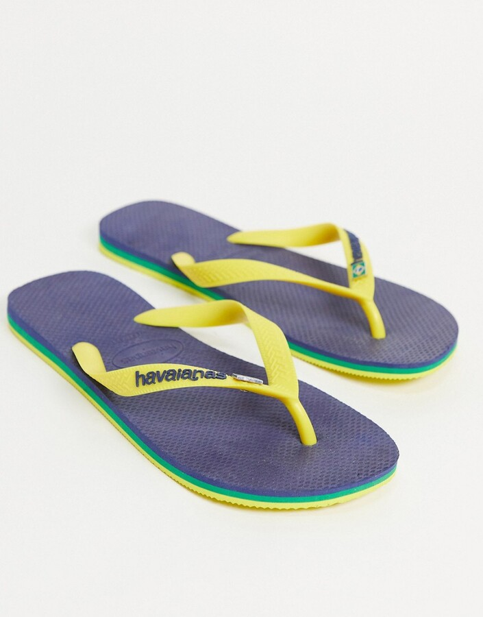 Thumbnail for your product : Havaianas brasil layers flip flops in navy