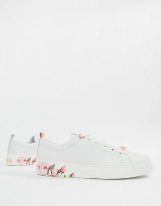 Ted Baker White Leather Sneakers With Floral Sole