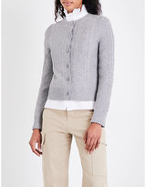 See by Chloe Ladies Radient Grey Classic Floral-Lace Cable-Knit Cardigan