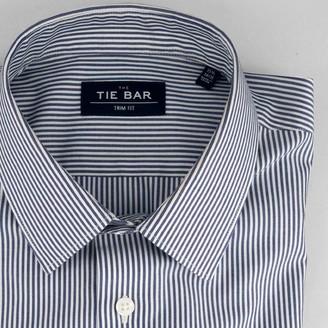 Tie Bar Vertical Stripe Blue Non-Iron Dress Shirt