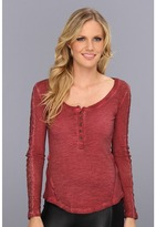 Free People Shell Stitch Lace Top (Deep Red) - Apparel