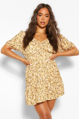 boohoo Tie Detail Ruffle Tiered Smock Dress