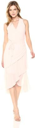 Bebe Women's Chiffon Drape Front Dress with V Neck
