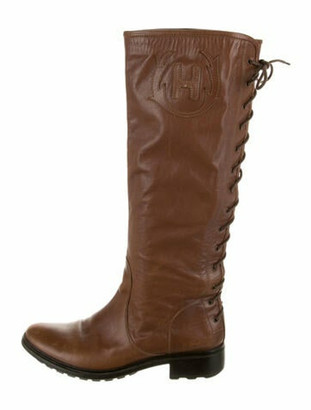 Hunter Leather Lace-Up Boots Brown