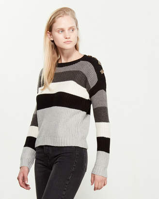 PINK ROSE Rugby Stripe Long Sleeve Sweater