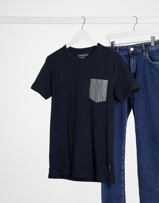 French Connection check pocket t-shirt in navy