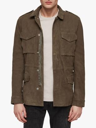 AllSaints Courte Leather Military Jacket, Dark Khaki