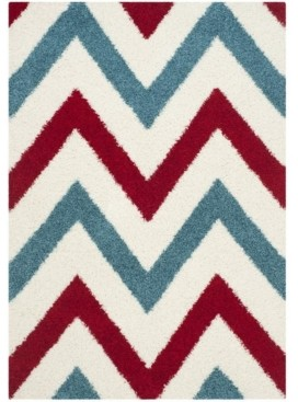 Safavieh Shag Kids Ivory and Red 4' x 6' Area Rug