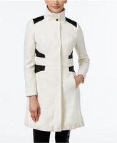 Via Spiga Faux-Leather-Trim Wool-Blend Walker Coat