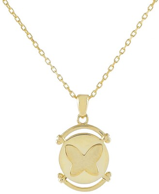 Adina's Jewels Butterfly Coin Pendant Necklace