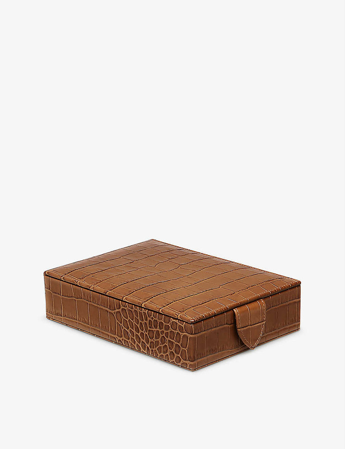 Smythson Mara travel tray croc-embossed leather jewellery box