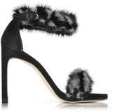 Stuart Weitzman Bunnylove Smoke and Nero Mink High-Heel Sandal