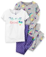 """Carter's 4-Piece """"Blast Off To Bed"""" Pajama Set in Purple"""