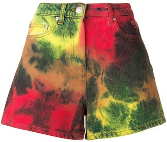 MSGM Tie Dye Denim Shorts