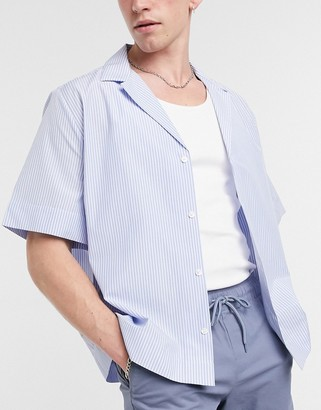 ASOS DESIGN boxy smart shirt with deep revere collar in stripe