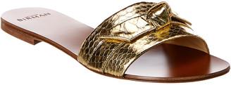 Alexandre Birman Jolie Snake-Embossed Leather Sandal