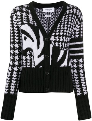 Thom Browne Pow With Zebra Icon Jacquard Classic V Neck Cardigan w/ 4 Bar In Cashmere