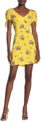 Luna Chix Tie Sleeve Patterned Mini Dress