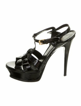 Saint Laurent Rubber T-Strap Sandals Black