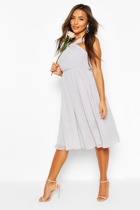 boohoo Petite Occasion Pleated Detail Midi Dress