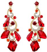BriLove Women' s Artistic Wedding Bridal Irregular Crystal Chandelier Dangle Pierced Earrings Silver-Tone