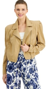 INC International Concepts Inc Plus Size Cotton Gauze Moto Jacket, Created for Macy's