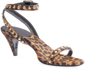 Saint Laurent Kiki Leopard Studded Sandals