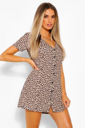 boohoo Leopard Print Button Shift Dress