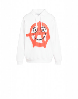 Moschino Spray Print Cotton Sweatshirt Man White Size 44 It - (34 Us)