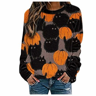 Bover Beauty 1PC Women Crewneck Sweater Plus Size Long Sleeve Bat Long Sleeve Sweatshirt Sweatshirt Casual Loose Tops Pumpkin Cat Bats Hoodies for Halloween (Orange XXL)