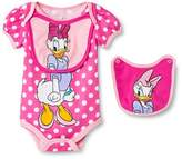 Daisy Duck Newborn Girls' Disney Daisy Duck Bodysuit & 2 Bib Set - Pink