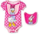Daisy Duck Newborn Girls' Disney Daisy Duck Bodysuit & 2 Bib Set - Pink