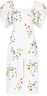 All Things Mochi Marisol floral-embroidered midi dress