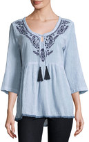 Saffire Pinstriped Embroidered Tunic, Blue