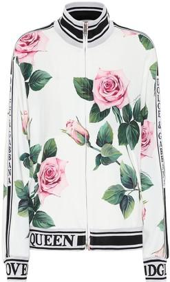 Dolce & Gabbana Floral stretch-cady track jacket
