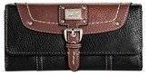 Bolo Women's Faux Leather Wallet with Back/Interior Compartments - Black/Walnut