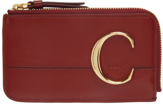 Chloé Red Small C Zip Around Card Holder