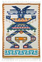Geometric Wool Area Rug in Prussian Blue and Pumpkin (4x6), 'Guardian of the Forest'