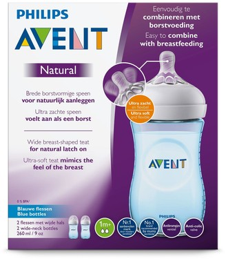 Avent Naturally PhilipsAvent Natural Blue Baby Bottles (2x 9oz/260ml)