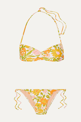 Faithfull The Brand Hanna Ruched Floral-print Bikini - Pastel yellow