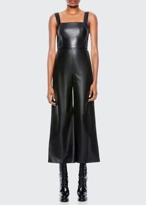 Alice + Olivia Avelina Vegan Leather Wide-Leg Jumpsuit
