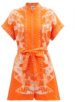 Zimmermann Lulu Printed Linen-poplin Playsuit - Orange Print