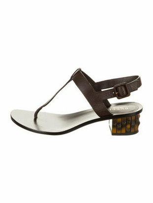 Gucci Leather T-Strap Sandals Brown