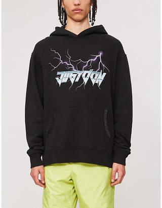 JUST DON Lightening logo-print cotton-jersey hoody